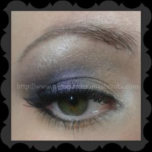 Maquillaje degradado dorado-morado-negro