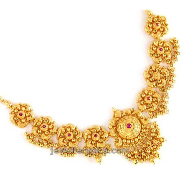 flower necklace gold indian set