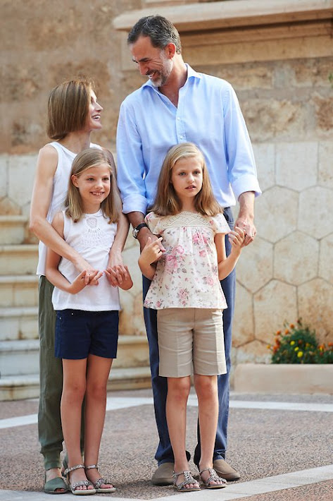King Felipe and and Queen Letizia, Leonor, Princess of Asturias and Infanta Sofia of Spain