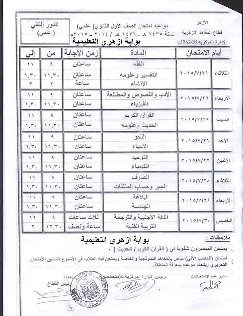 جدول امتحانات الدور الثاني للصف الاول الثانوي علمي 2015