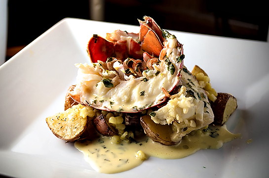 Boiled Lobster Tails w/ Herbed Wine Cream Sauce, Corn, & Roasted New Potatoes