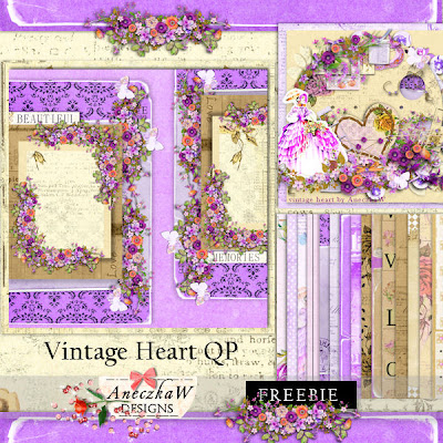 "Free scrapbook ""Vintage heart qp"" from Aneczkaw designs"