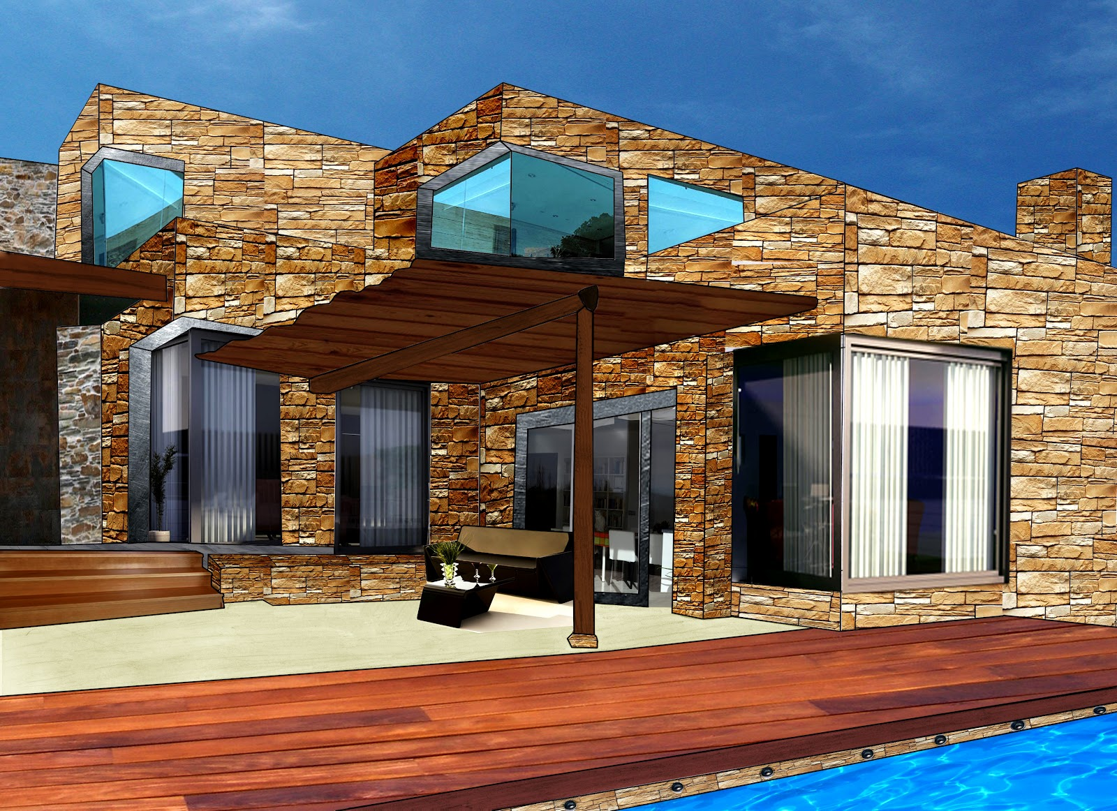 Dibujo y dise o digital casa modular de piedra for Casas con piscina bucaramanga