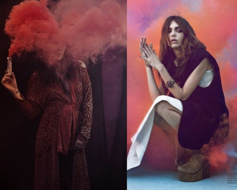 red, cloud, smoke, fashion, model