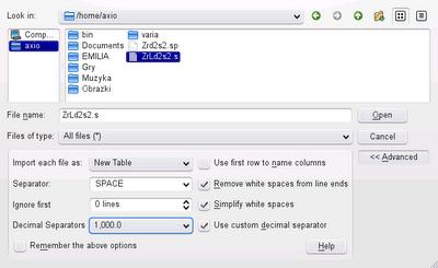 Rys 1. Import danych z pliku tekstowego.