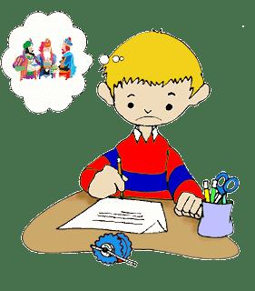 Un niño escribe una carta a los Reyes Magos