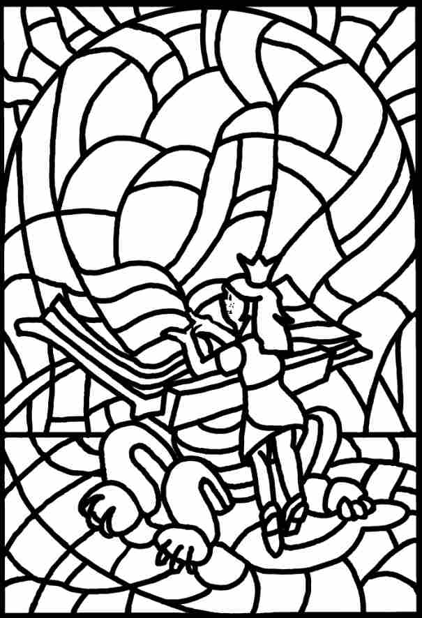 STAINED GLASS DESIGN COLOURING PAGE
