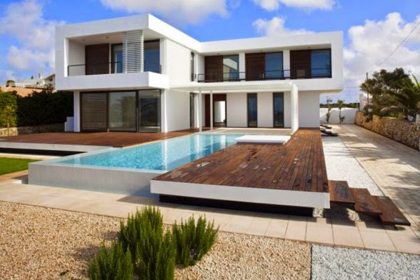 Outdoor depan Desain Rumah Dengan Kolam Renang