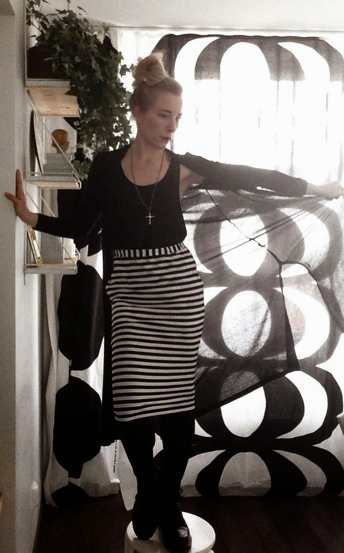 Marimekko skirt, Dr Martens shoes, Lindex cardigan