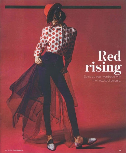 Burberry Prorsum 2014 SS Editorial:  Red Polka Dots Linen Shirt