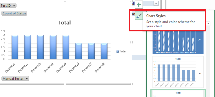 Changing chart styles in Pivot chart