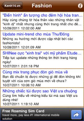 phần mềm Đọc tin tức Kenh14.vn trên iPhone