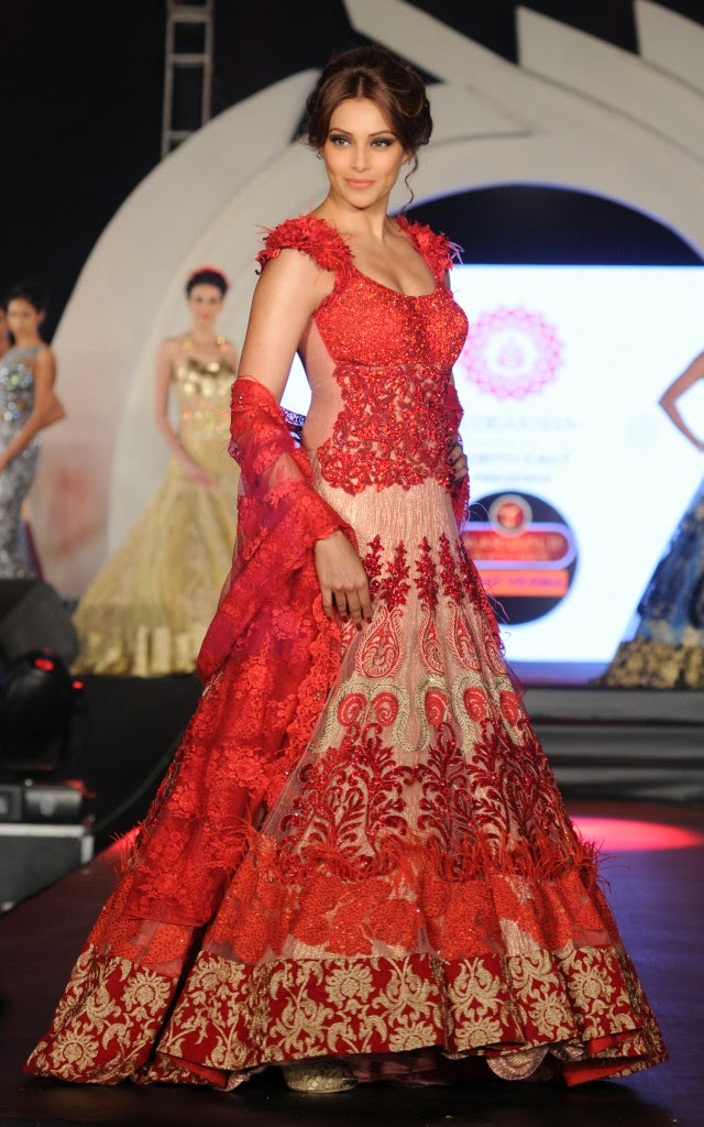 Bollywood Actress Bipasha Basu in Red Lehenga -Wat Marigold watches Fashion Show