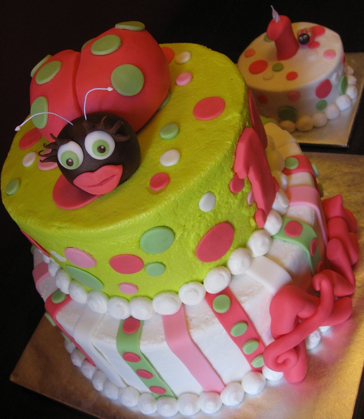 Hot Pink and Lime Green Ladybug Cake Posted by Katie 39s Cakes at 837 PM