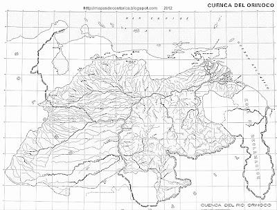 Mapa de la cuenca del ORINOCO, blanco y negro