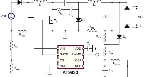 led driver for automotive applications using at9933