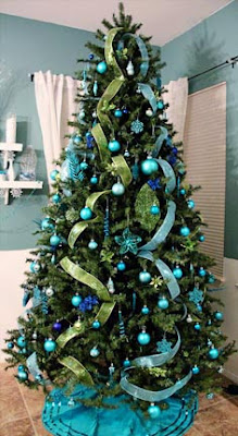 my big tree is decked out in my favorite color turquoise with accents of royal blue and bright green im pretty happy with it for my first attempt - Lime Green And Blue Christmas Decorations