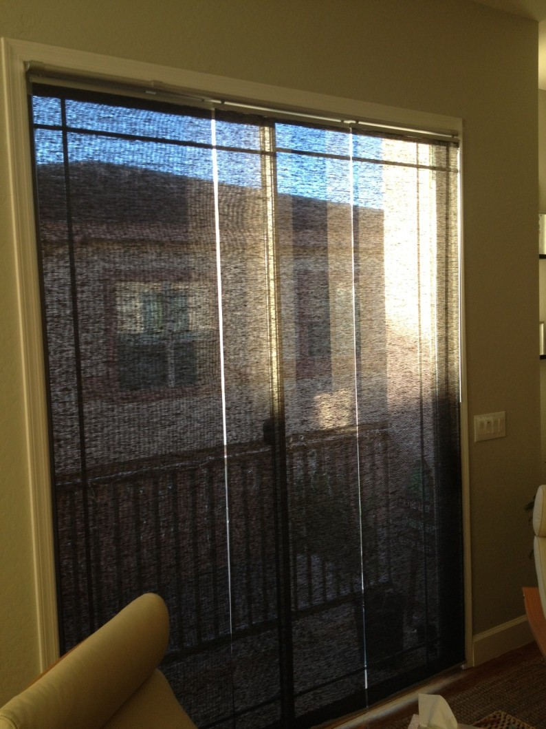 Kvartal panels mounted inside a sliding glass door get for Sliding glass doors curtains