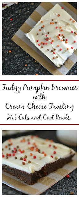 Two ingredient brownies with a layer of delicious homemade frosting on top! So perfect for fall! Fudgy Pumpkin Brownies with Cream Cheese Frosting Recipe from Hot Eats and Cool Reads