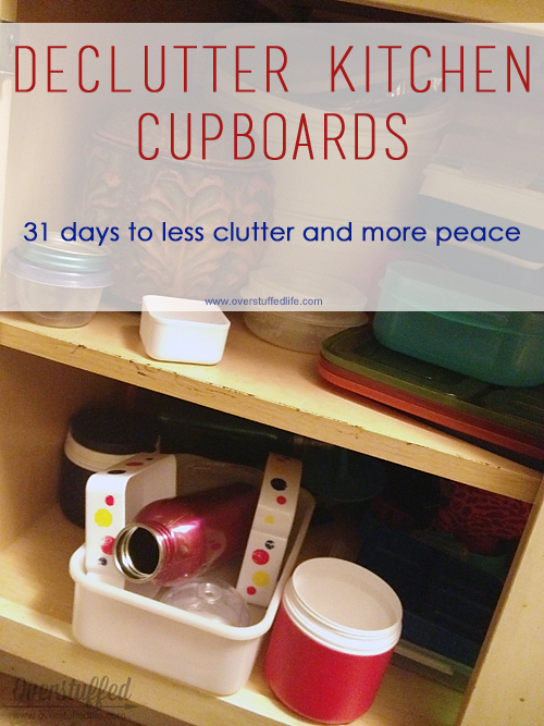 Kitchen cupboards collect clutter. Stay on top of it by keeping them organized and getting rid of the things you don't use. Or the tupperware that doesn't have matching lids anymore!