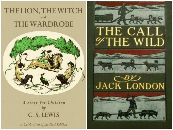 CS Lewis, Jack London, The Lion the Witch and the Wardrobe book cover, first edition, Call of the Wild book cover, vintage book covers