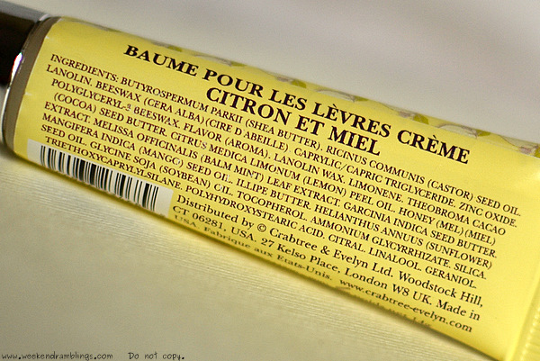 crabtree and evelyn citron creme honey lip balm butter reviews ingredients use makeup skincare beauty blog