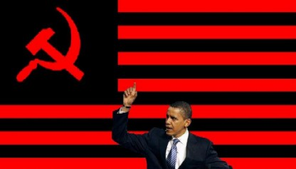 obama holding communist flag