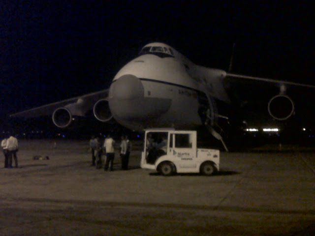 AN 124 parked at Chennai Airport for Loading by Bhadra International