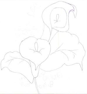 Risco para pintura em tecido com flor copo de leite