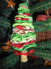 RED & GREEN ASST. FABRIC YO YO TREE