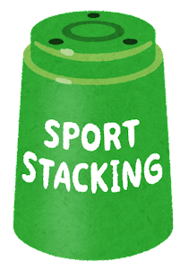 スポーツスタッキングのカップのイラスト(緑)