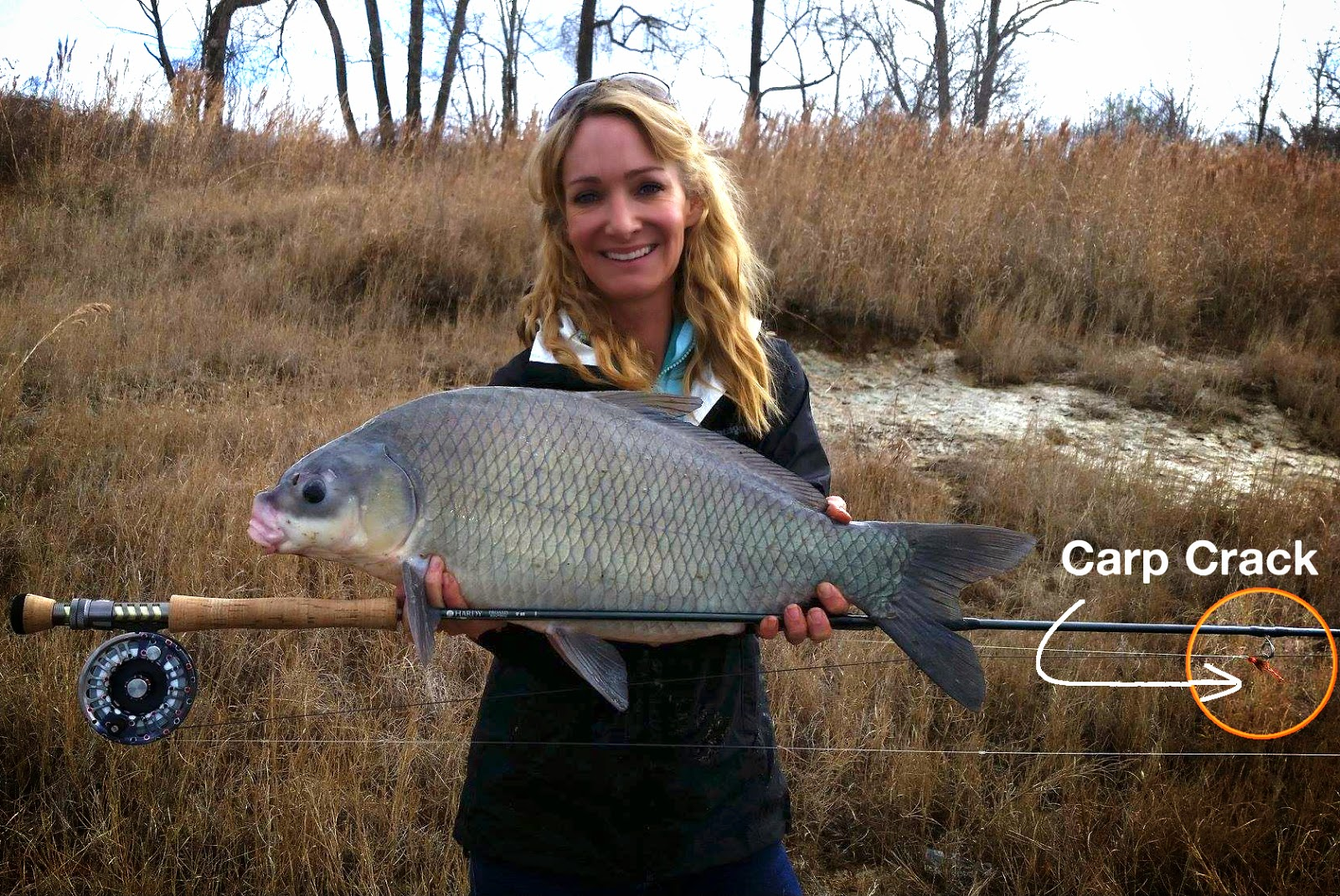 Meredith McCord and her IGFA record smallmouth buffalo caught on Lipton's Carp Crack