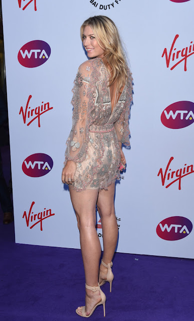 Maria Sharapova stunning leggy poses at WTA party carpet photo 3
