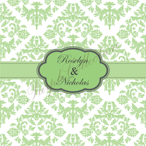 Square Card Floral Damask Design Wedding Invitation Cards, Square Card, Floral, Damask, Wedding, Invitation Card, Wedding Invitation Card, Roselyn & Nicholas, Roselyn, Nicholas, Green