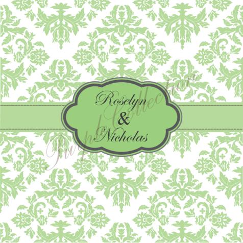Square Card Floral Damask Design Wedding Invitation Cards, Square Card, Floral, Damask, Wedding, Invitation Card, Wedding Invitation Card, Roselyn & Nicholas, Roselyn, Nicholas, Green