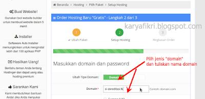 5 Pilih jenis domain dan tuliskan nama domain (karyafikri.blogspot.com)
