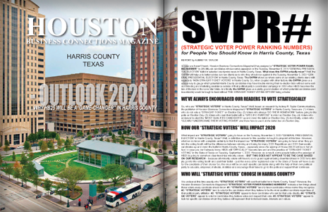 "PAGES 18 AND 19 - HOUSTON BUSINESS CONNECTIONS MAGAZINE© ""STRATEGIC VOTER"" MOBILIZATION CAMPAIGN"