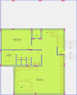 Golf Country, Yamuna Expressway :: Floor Plans,Golf Villa (325 sq. yd.):-Basement Floor Plan Plot Area: 1576.06 Sq. Ft.