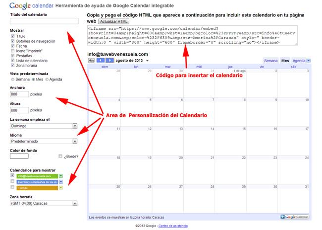Personalización de Google Calendar para insertarlo en una página web