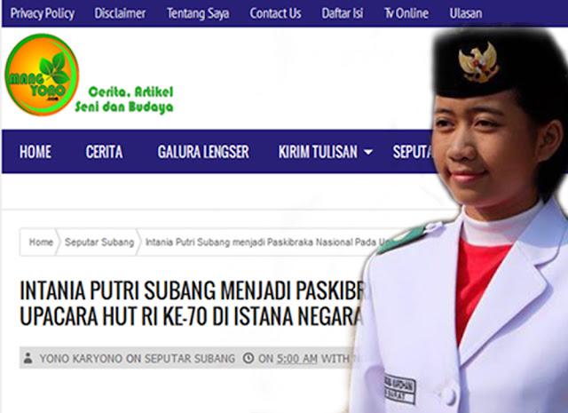 Intania Putri Subang menjadi Paskibraka Nasional Pada Upacara HUT RI ke-70 di Istana Negara