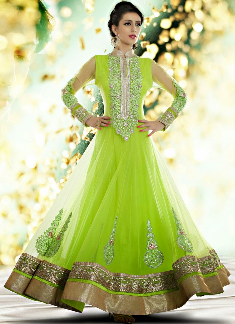 Indian royal wedding wear long anarkali dresses 2014 for Indian bridal wedding dresses