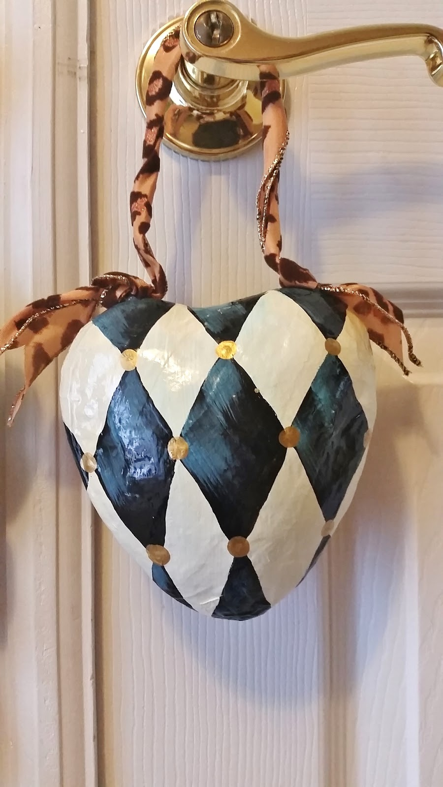 hand painted harlequin heart ornament