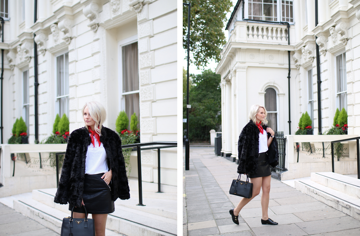 how to style faux fur in the winter, winter style, red bow tie and prada handbag