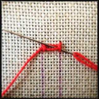 Broderisting tutorial. Vejledning med billeder. Ladder stitch - trin 8