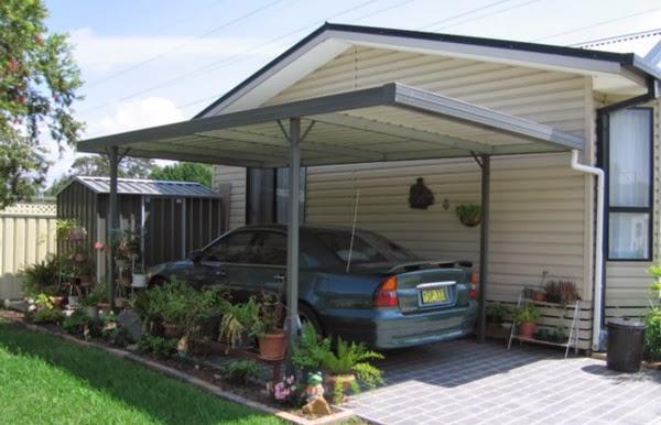 garasi mobil minimalis model rumah modern