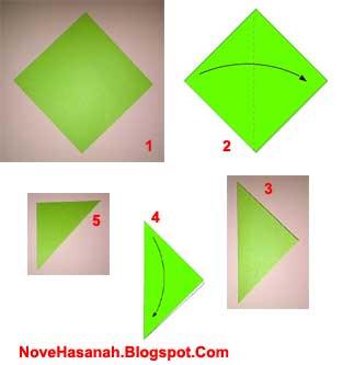 langkah awal membuat origami berudu atau kecebong katak