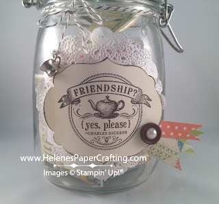 close up of canning jar decorate and filled with tea bags