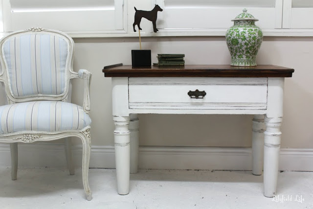 Painted Side table by Lilyfield Life french Louis chair