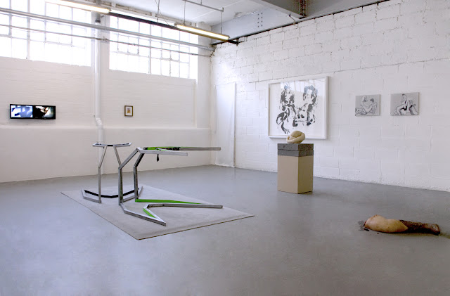 Matthew Miles (two screen video), Konrad Wyrebek (metal sculpture), Jiri Kolar (collage), Whitney McVeigh (monoprint), Sarah Lucas (sculpture, courtesy of Sadie Coles HQ) Konrad Wyrebek (two oil paintings), John Isaacs (wax sculpture)