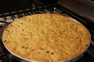 baked cookie in round dish